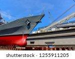 ship repair on floating dry... | Shutterstock . vector #1255911205