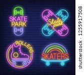 skateboards and rollers neon... | Shutterstock .eps vector #1255917508