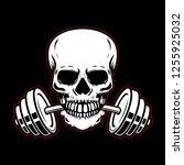 skull with barbell in teeth.... | Shutterstock .eps vector #1255925032