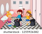 children collecting trash in... | Shutterstock .eps vector #1255926382