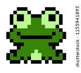 pixel art frog green animal icon | Shutterstock .eps vector #1255941895