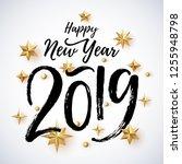 2019 hand written lettering... | Shutterstock .eps vector #1255948798