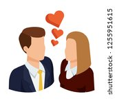 business couple with hearts... | Shutterstock .eps vector #1255951615