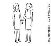 couple businesswomen avatars... | Shutterstock .eps vector #1255951792