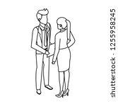 business couple talking avatars ... | Shutterstock .eps vector #1255958245