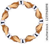 shaking hands in a circle | Shutterstock .eps vector #1255968898