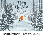 happy winter with forest... | Shutterstock .eps vector #1255972078
