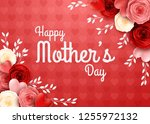 happy mother's day with rose... | Shutterstock .eps vector #1255972132