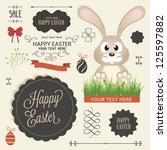 vector set of easter ornaments... | Shutterstock .eps vector #125597882