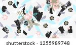 seamless pattern of flowers ... | Shutterstock .eps vector #1255989748