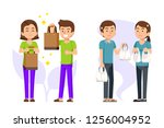 shop and people have awareness... | Shutterstock .eps vector #1256004952
