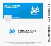 blue business logo template for ... | Shutterstock .eps vector #1256008375