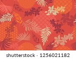 seamless pattern with tropical... | Shutterstock .eps vector #1256021182