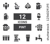 pint icon set. collection of 12 ... | Shutterstock .eps vector #1256029195