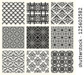 set of 9 seamless patterns in... | Shutterstock . vector #125603582