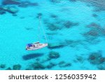 beautiful bay with sail boat... | Shutterstock . vector #1256035942