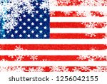 usa flag snowflake background | Shutterstock . vector #1256042155