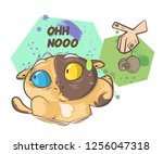 the cat abandoned the dead mouse | Shutterstock .eps vector #1256047318