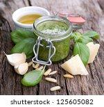 fresh pesto with basil on... | Shutterstock . vector #125605082
