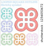 looped square outline sketchy... | Shutterstock .eps vector #1256053672