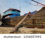 the bridge to the ship docked... | Shutterstock . vector #1256057092