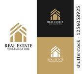 real estate logo design... | Shutterstock .eps vector #1256058925