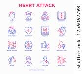 heart attack symptoms thin line ... | Shutterstock .eps vector #1256062798