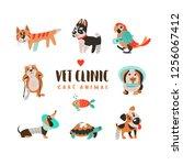 collection of cute cartoon... | Shutterstock .eps vector #1256067412