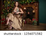 woman at christmas  | Shutterstock . vector #1256071582
