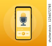 podcast icon  vector symbol in... | Shutterstock .eps vector #1256072785