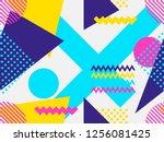 memphis seamless pattern.... | Shutterstock .eps vector #1256081425