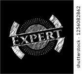 expert chalkboard emblem... | Shutterstock .eps vector #1256082862