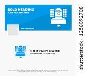blue business logo template for ... | Shutterstock .eps vector #1256092708