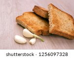 toasted bread slices with... | Shutterstock . vector #1256097328