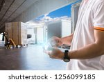 logistic and warehouse business.... | Shutterstock . vector #1256099185
