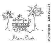 miami beach continuous line...   Shutterstock .eps vector #1256101195