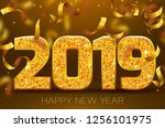 2019 happy new year. gold... | Shutterstock .eps vector #1256101975