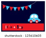 baby boy arrival card | Shutterstock .eps vector #125610605