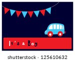 baby boy arrival card | Shutterstock .eps vector #125610632