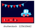 baby boy arrival card | Shutterstock .eps vector #125610662