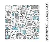 pet shop concept. set of vector ... | Shutterstock .eps vector #1256114155