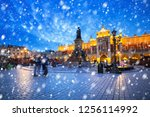 old town of krakow on a cold... | Shutterstock . vector #1256114992