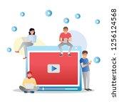 video concept illustration of... | Shutterstock .eps vector #1256124568