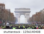 arc de triomphe with thousands... | Shutterstock . vector #1256140408