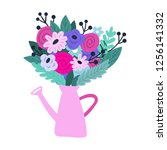 watering can with flowers.... | Shutterstock .eps vector #1256141332