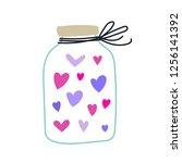 mason jar with hearts. vector... | Shutterstock .eps vector #1256141392