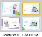 online banking mobile marketing ... | Shutterstock .eps vector #1256141755