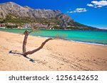 town of omis sand beach and...   Shutterstock . vector #1256142652