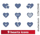 hearts icons  vector set of...