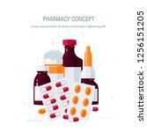 medicine vector concept.... | Shutterstock .eps vector #1256151205